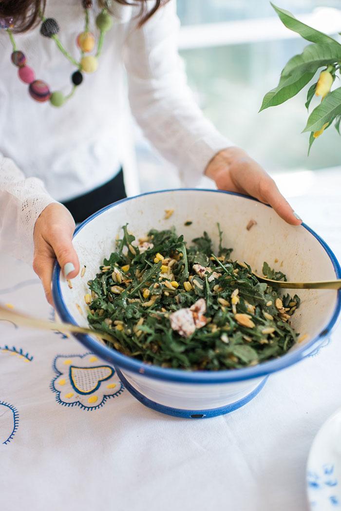 Arugula Orzo Salad made with Goat Cheese by Jewish Latin Princess