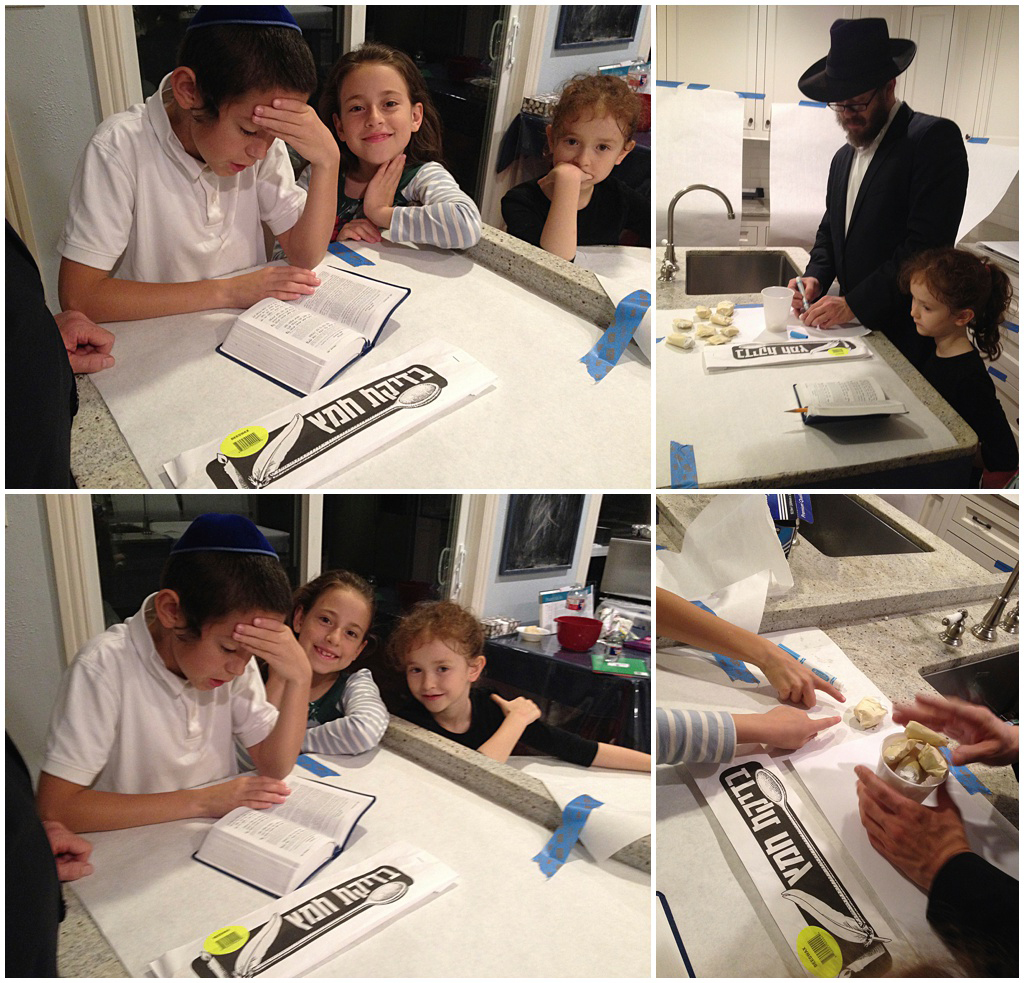 Everybody intensely concentrated on the preparation of the ten pieces of chometz that are about to be hidden.