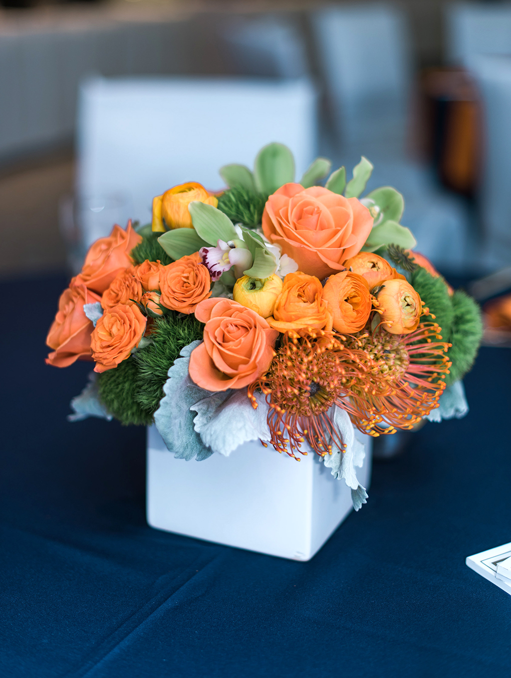 Orange Flowers Centerpiece for Bar Mitzvah