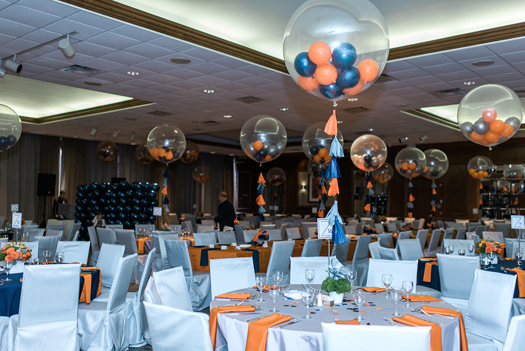 Gray, Navy and Orange Bar Mitzvah Party with Balloons with Tassels