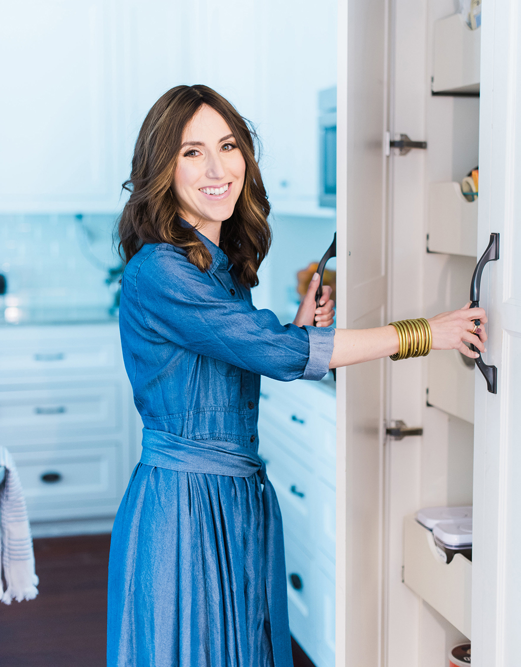 Yael from Jewish Latin Princess wearing Dainty Jewell's chambray does